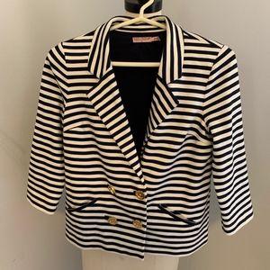 Juicy Couture White & Blue Stripe Blazer - Size M